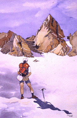 Climber Nearing Matterhorn in the Eastern Sierras, August 1997, by Kim Solga